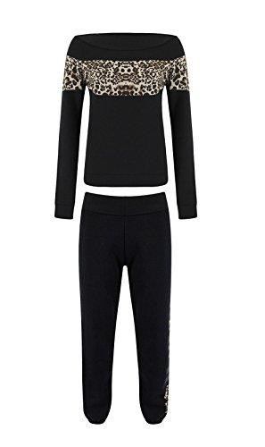mbc-new Donna Celeb stile leopardo Pannello Felpa 2pezzi Tuta Jogging Suits: (imballato & spedito da Miss Boho Chic-TM) Black Leopard S/M:(40-42)