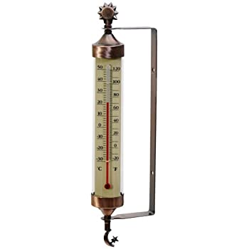 AcuRite 02309 Weathered Copper Tube Thermometer with Sun and Moon Accents