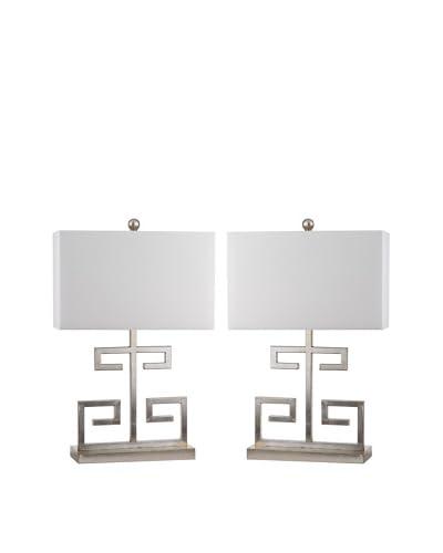 Safavieh Set of 2 Antique Silver-Tone 1-Light Greek Key Table Lamps, Silver/White