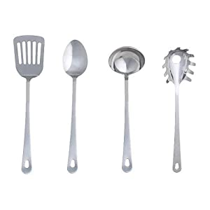 3 X Ikea 300.833.34 Grunka 4-Piece kitchen Utensil Set, Stainless Steel, Silver