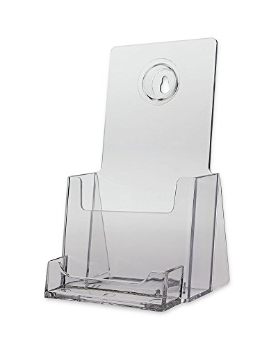 Source One TriFold Brochure Holder with Business Card Holder Wall Mount Or Counter Top (S1-99K)