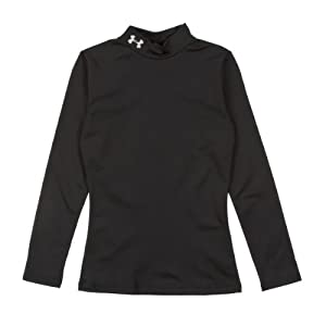 Under Armour EVO ColdGear Fitted Kids Long Underwear Top X-Large Black-Aluminum by Under Armour