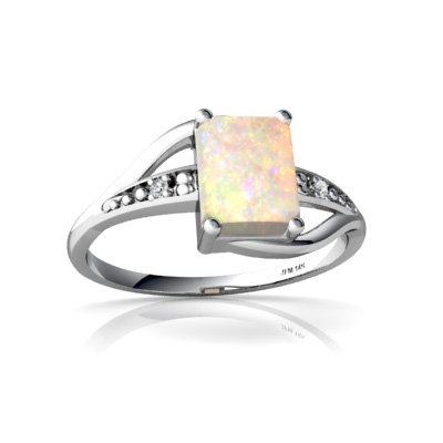 Genuine Opal 14ct White Gold Ring