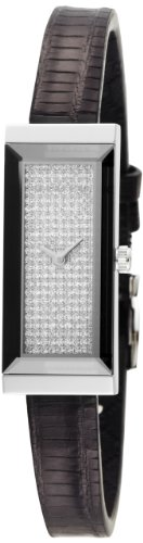 Gucci Women's YA127509 G-Frame Rectangle Black Lizard Strap Diamond Dial Watch