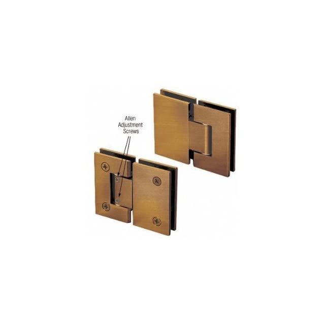 C.R. LAURENCE V1E380ABR CRL Antique Brass Vienna 380 Series Adjustable 180 Degree Glass to Glass Hinge   Shower Installation Kits