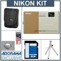 Nikon Coolpix S70 12.1 Megapixel Digital Camera Kit,- Champagne & Light Brown - With 8GB SD Memory Card, Spare EN EL-12 Lithium-Ion Battery, Camera Case, 2 Year Extended Service Coverage, Table Top Tripod,