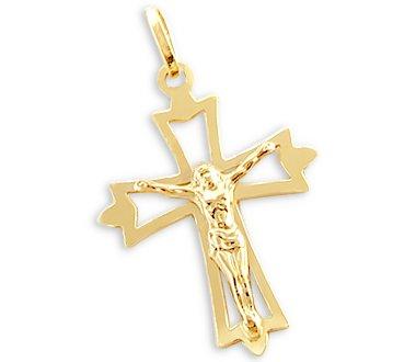 14k Yellow Gold Cross Crucifix Pendant Charm Classic
