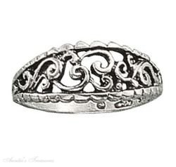 Sterling Silver Open Loops Curves Ring Size 7