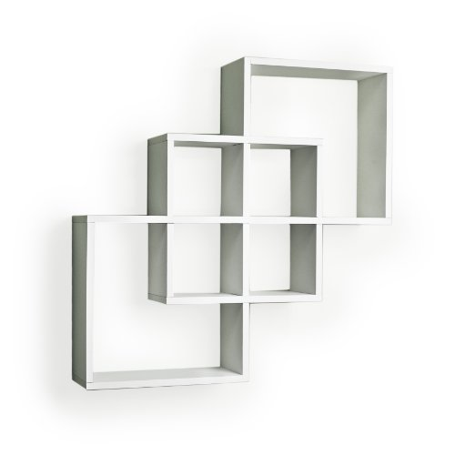 Intersecting Squares Decorative White Wall Shelf