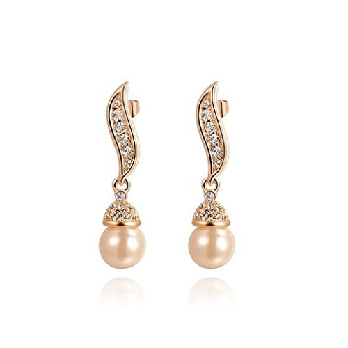 Angelady 18k Rose Gold Plated Pearl Drop Earrings Austrian Crystals