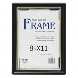 Nu-Dell EZ Mount Document Frame, Plastic, 8-1/2 x 11 Inches, Black (11880)