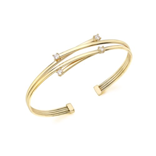 9ct Yellow Gold Double Crossover Cubic Zirconia Detail Bangle