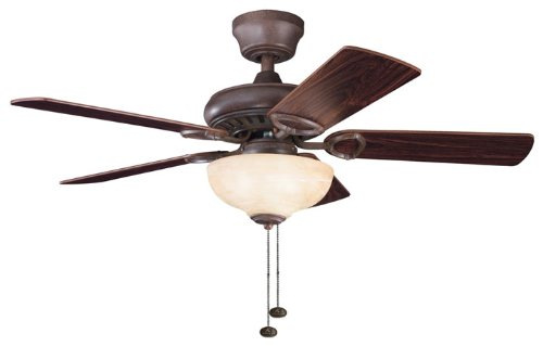 Kichler Lighting 337014Tz Sutter Place Select 42-Inch Ceiling Fan, Tannery Bronze Finish With Reversible Teak/Cherry Blades And Light Kit front-867163