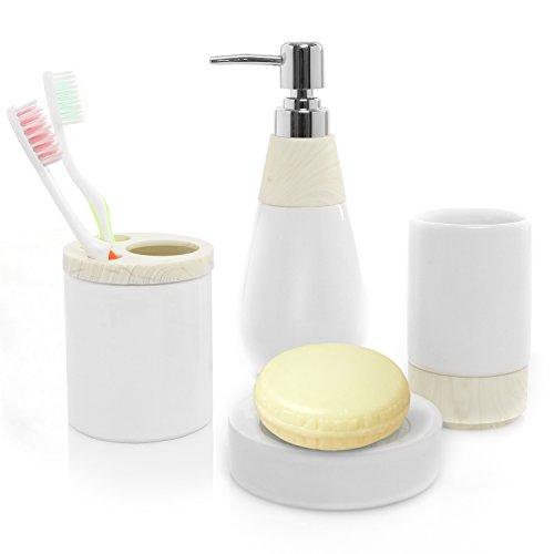 4 Pc Two Tone White Ceramic Bathroom Accessory Set W