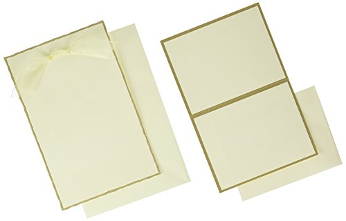 Gartner Studios Invite Kit, Ivory Gold Deckled Edge, 50-Count (61405) Gold Deckled Invitation Kit
