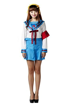 Mtxc Women's The Melancholy of Suzumiya Haruhi Cosplay School Uniform Winter Outfit Kid Size Large Blue