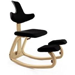 VARIER - THATSIT seduta ergonomica in frassino NATURALE e tessuto NERO STE 999