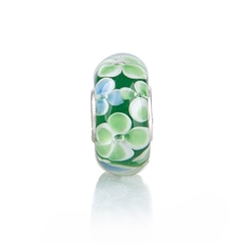 Bling Jewelry .925 Sterling Silver Murano Green Flower Bead Compatible with Pandora Bead Bracelet