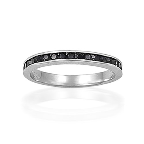 Bling Jewelry Sterling Silver July Birthstone Onyx CZ Eternity Band Ring