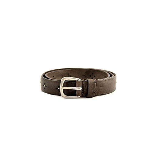 Cintura uomo Fabrizio Mancini tg 90 M 6231FANGO in pelle marrone con borchie