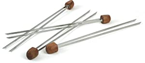 Charcoal Companion Rosewood handle Double Prong Grilling Kabob Skewers, Set of 4 by Charcoal Companion