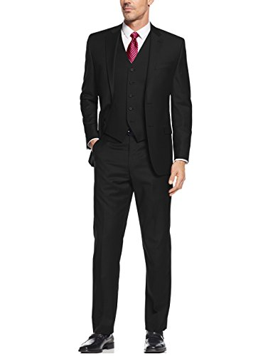 "Salvatore Exte Men's Suit 3-Piece Two Button Blazer Jacket Flat Front Pants (42 Regular US / 52R EU / W 36"", Black)"