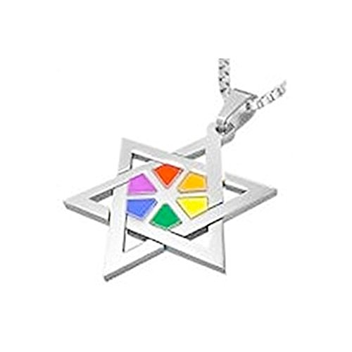 Rainbow Ray Star Of David Necklace - Gay & Lesbian LGBT Judaism Pride. LGBT Pride - Gay and Lesbian Pendant. One Necklace & Chain for men or women. Rainbow Pride Jewelry is Great for the Gay parade, as a Lesbian, Gay, Bisexual, or Transgender Gift to Cele