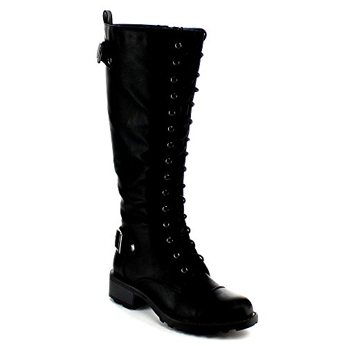 Nature Breeze Womens Combat-01 New Arrival Lace Up Knee High Riding Boot,Black,6
