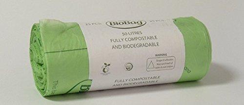 Rouleau de 8sacs (200) 50L BioBag maïs Trottoir Caddy sacs