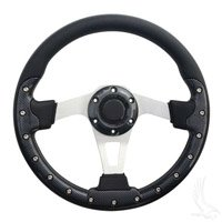 Golf Cart Aviator 3 Steering Wheel - Carbon Fiber/Brushed Aluminum