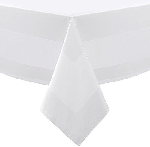 Gastronomie Hotel Tischdecke Servietten, Vollzwirn Baumwolle Atlaskante, 90x90 cm Größe wählbar, Weiß
