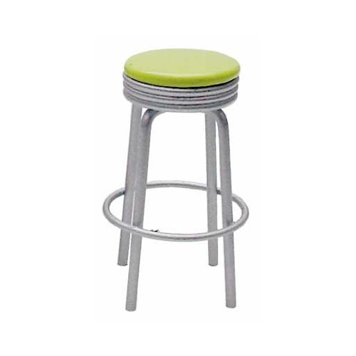 Dollhouse Miniature Bright Green Retro Diner Stool - 1