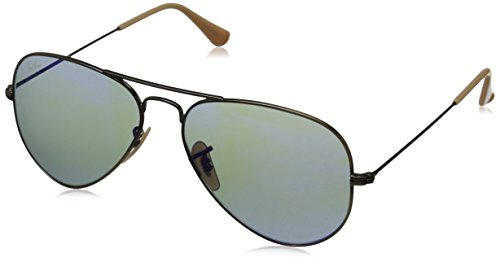 Ray-Ban Aviator Large Metal Aviator Sunglasses, Demiglos Brushed Bronze & Blue, 47.5 mm