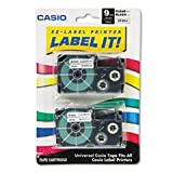 Casio XR-9X2S 9mm Labelling Tape (Black on Clear, Double Pack)