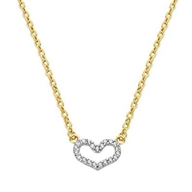 Bicolor gold heart pendant with chain 18K