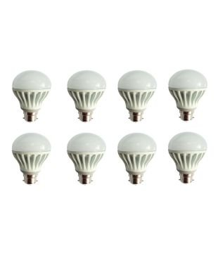 12W Virgin Plastic Led Bulb (White, Pack Of 8)