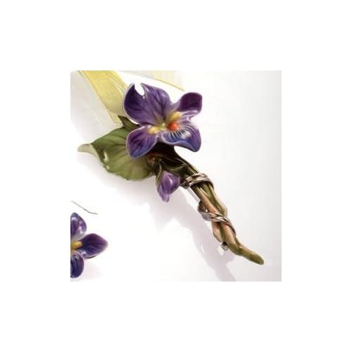 Franz Porcelain Jewelry Collection Pendantbrooch Spring Violet