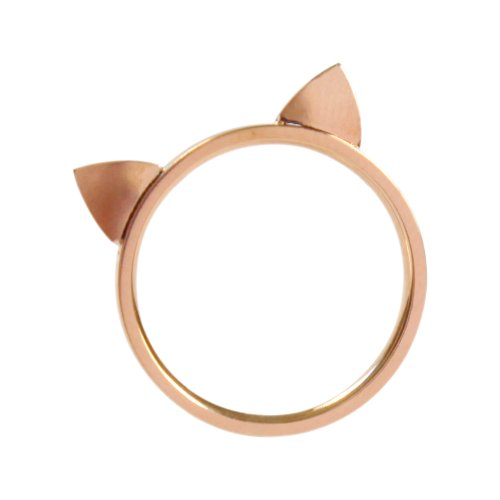 ELBLUVF 18k Rose Gold Plated Titanium Cat Ears Ring Kitty Cat Ring Size 4-7 (6) (Rose Gold Rings Size 6 compare prices)