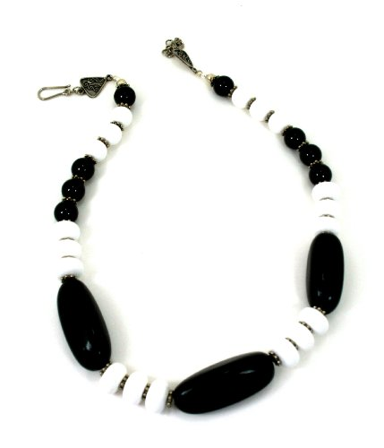 Semi Precious Stone Dyed Black Stone And White Agate Choker Necklace A One Of A Kind Jewelery