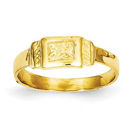 Genuine IceCarats Designer Jewelry Gift 14K Rectangle Baby Ring Size 3.00