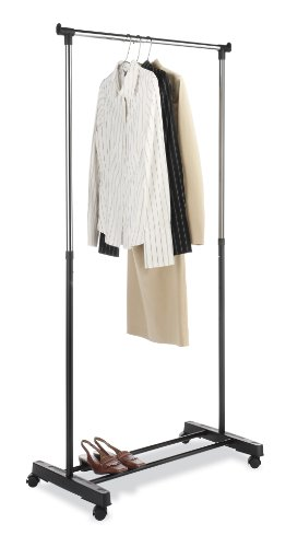 Whitmor 6021-3079 Ebony Chrome Collection Adjustable Garment Rack (Bedroom Clothes Rack compare prices)