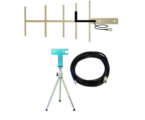 10 dB Yagi 800-900 MHz Cellular Antenna (301129) and Portable Stamped Tripod Assembly with Mounting Bracket and 10' RG58 Coax cable with N Male-FME Female connectors (859934)