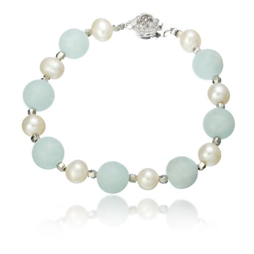 Lustrous - White Pearls and Aquamarine Bracelet with White Gold Plated Carved Flower Clasp