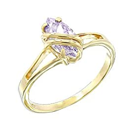 Women Solitaire Light Amethyst Cubic Zirconia Gold Tone Ring