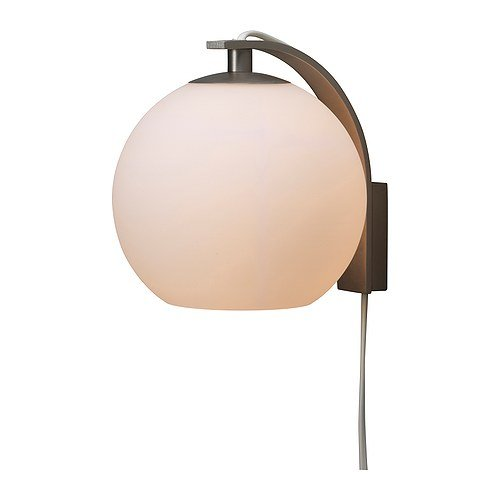 details about ikea minut wall lamp sconce white 6 glass corded plug in. Black Bedroom Furniture Sets. Home Design Ideas