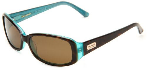 Image of Kate Spade Women's Paxton/S Rectangular Sunglasses,Aqua Tortoise Frame/Brown Polarized Lens,one size