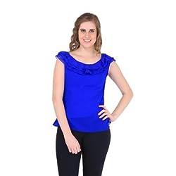 New Sierra Women Blue Georgette Cowl Neck Sleveless Top