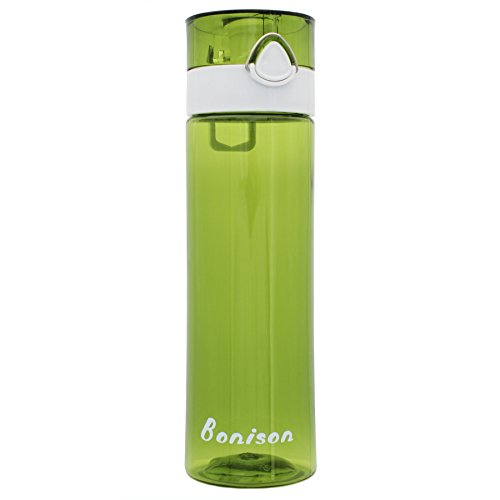 21 OZ Newest Design Sports Water Bottle Plastic Exceptional Durability Tritan Leak Proof Flip Top Double Locking Lid Handle for School Running Gym Yoga with Cleaning Brush - Green (Soda Bottle Straw compare prices)