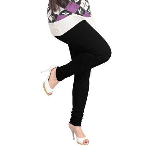 Lux Womens Cotton Leggings -Black -Free Size