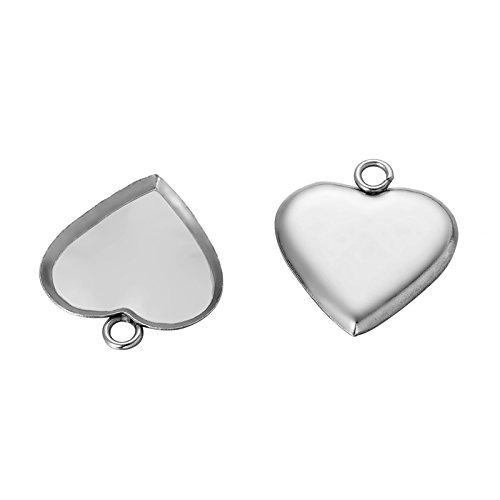 HooAMI 10pcs Silver Tone Heart Bezel Pendant Trays Blanks Cameo Bezel Cabochon Settings 14.5mmx13.5mm
